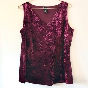 Crushed Velvet Crimson Red V-neck Tank Top